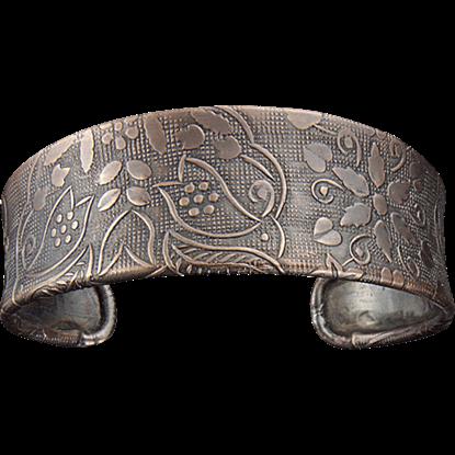 Antique Copper Etched Floral Cuff Bracelet