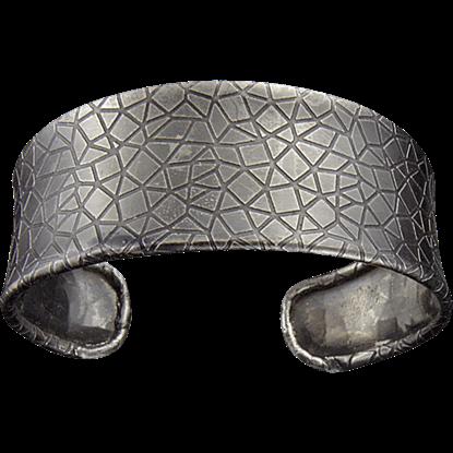 Antique Silver Crackle Cuff Bracelet