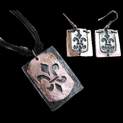 Copper with Silver Fleur de Lis Jewelry Set