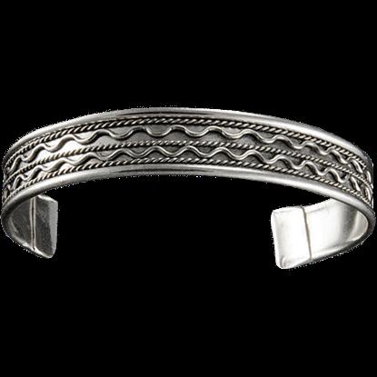Antique Silver Double Wave Cuff Bracelet