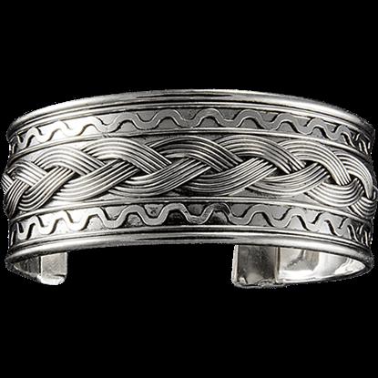 Antique Silver Braid Wide Cuff Bracelet