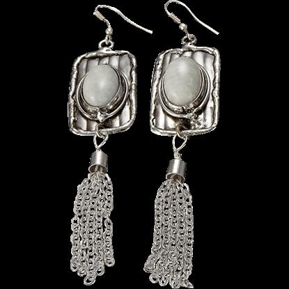 Amazonite Silver Tassel Earrings
