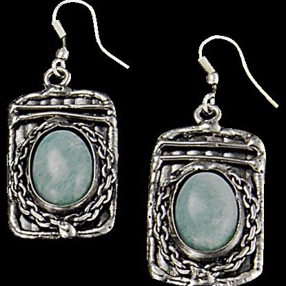 Amazonite Silver Rectangle Earrings