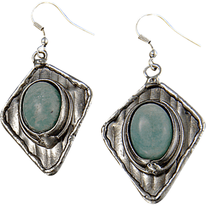 Amazonite Silver Diamond Earrings
