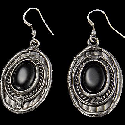 Black Onyx Silver Oval Earrings