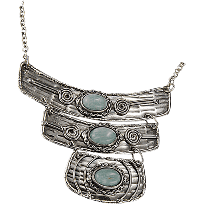 Amazonite Silver Rectangle Tier Necklace