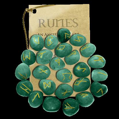 Green Aventurine Set of Rune Stones