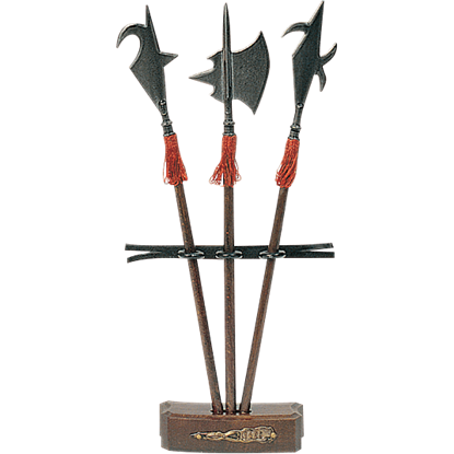Miniature Halberd Set of 3 with Stand