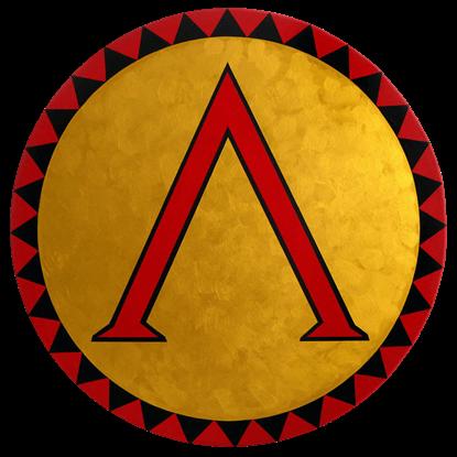 Round Wooden Greek Lambda Shield