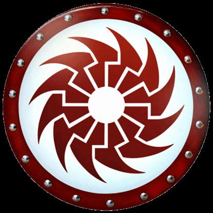 Round Crimson Sun Wooden Shield