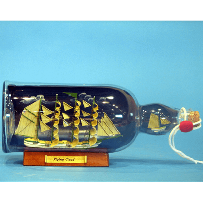 Green Flying Cloud Ship in a Bottle with Sky