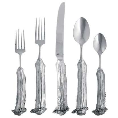 5 Piece Pewter Antler Flatware Set