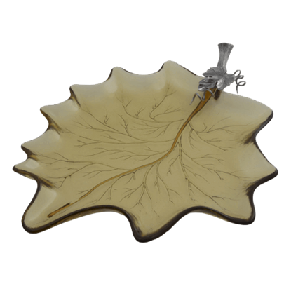 Harvest Leaf Glass Tray