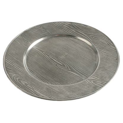 Pewter Wood Grain Charger Plate