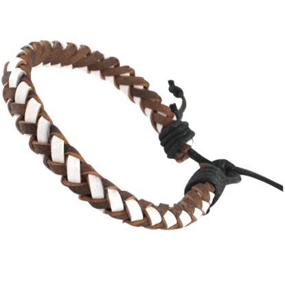 Brown and White Woven Leather Viking Bracelet