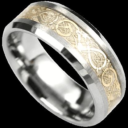 Golden Dragon Scroll Tungsten Ring