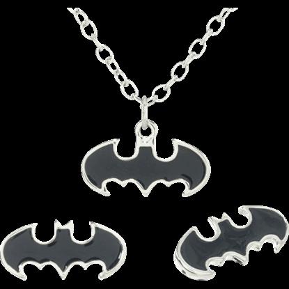 Black Enamel Batman Necklace and Earrings Set