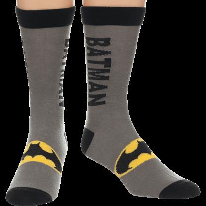 Gray Batman Logo Crew Socks