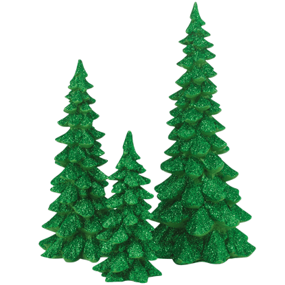 Green Holiday Trees - Set of 3 - Village Landscapes and Trees by Department 56