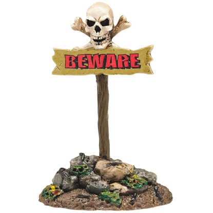 Beware The Boneyard Sign - Halloween Village Accessories by Department 56