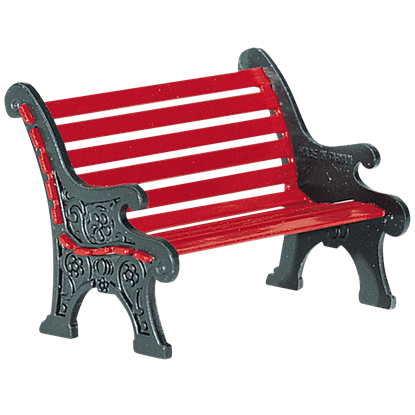 Red Wrought Iron Park Bench - Accessory Buildings and Figurines by Department 56