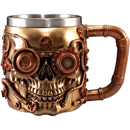 Copper Gear Steampunk Skull Tankard