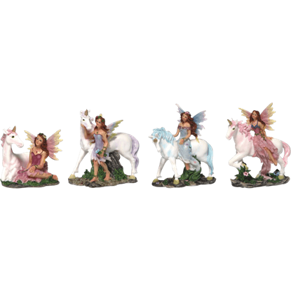 Colorful Fairy and Unicorn Statue Set