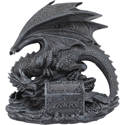 Black Dragon with Chest Statue