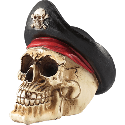 Pirate Captain Skull Statue