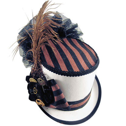 Black and Brown Topped White Steampunk Riding Hat with Netting