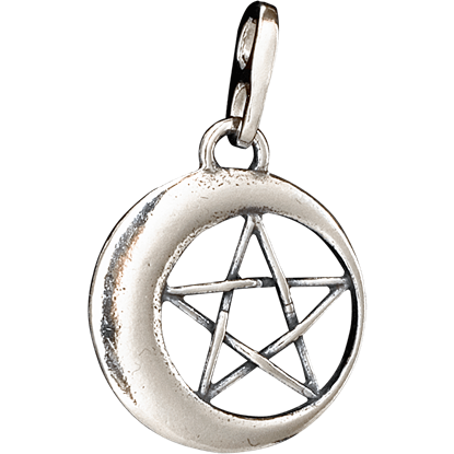 3D Crescent Moon Pentacle Pendant