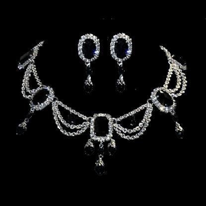 Dark Queen's Crystalline Necklace and Earring Set