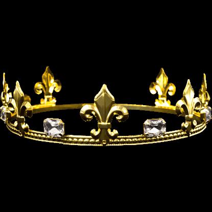 Mens Crystal Gold Fleur Crown