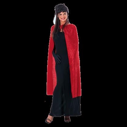 45 Inch Red Panne Velvet Costume Cape