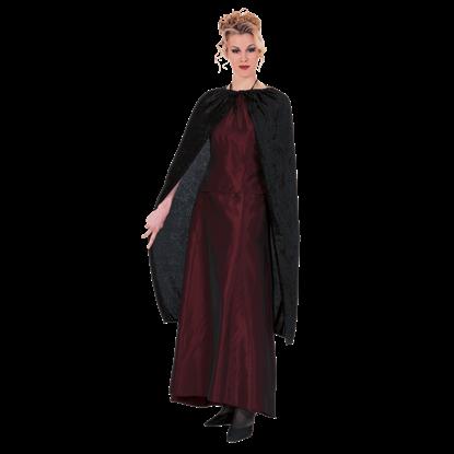 45 Inch Black Panne Velvet Costume Cape