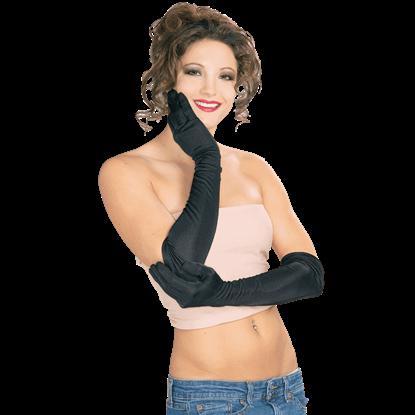Black Nylon Long Gloves