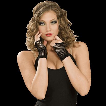 Black Fingerless Netted Wrist Gloves