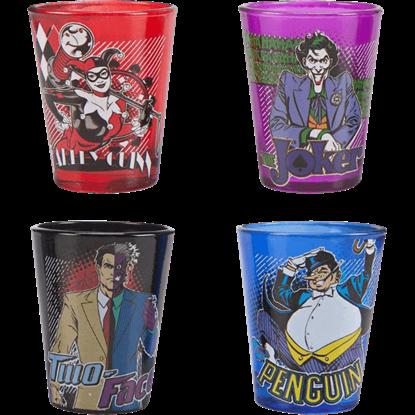 Batman Villains Four Piece Shot Glass Set