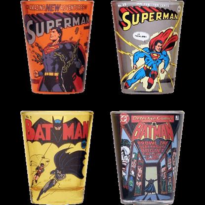 Classic Batman and Superman Shot Glass Set