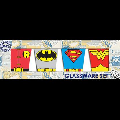 DC Hero Uniforms Four Piece Shot Glass Set