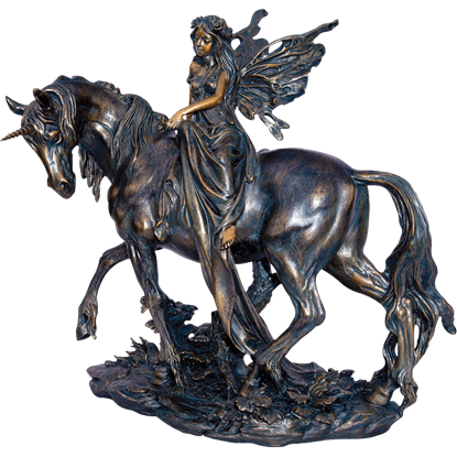 Fairy Riding Unicorn Statue