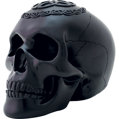 Black Celtic Skull Statue