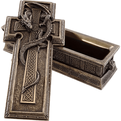 Celtic Dragon Cross Trinket Box