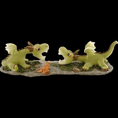 Arguing Green Dragonlings Statue