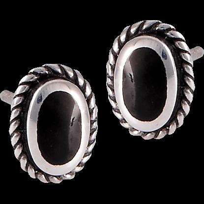 Black Onyx Sterling Silver Stud Earrings