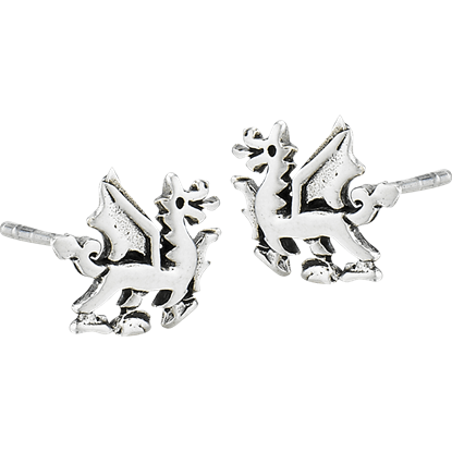 Sterling Silver Dragon Stud Earrings