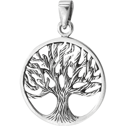 Sterling Silver Circle Tree Pendant