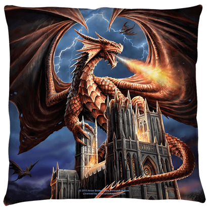 Small Anne Stokes Dragons Fury Pillow