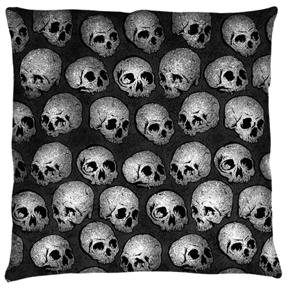 Large Gray Skull Pillow