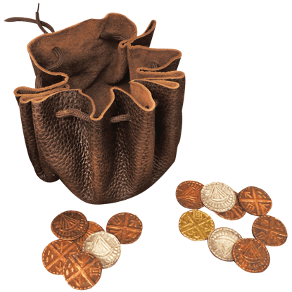 Viking Leather Pouch with Coins
